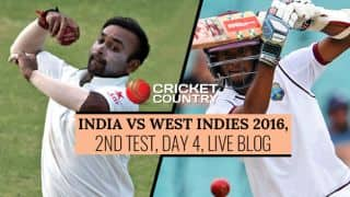 WI 48/4 | STUMPS | India (IND) vs West Indies (WI) 2016 Live Cricket Score, 2nd Test at Kingston, Day 4