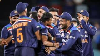 1st T20I in Pics: Jadeja, Chahal, Natarjan Give India 1-0 Lead in Canberra