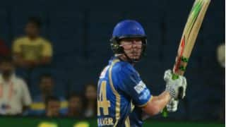 James Faulkner dismissed for 1 by Sandeep Sharma against Kings XI Punjab in Match 18 of IPL 2015
