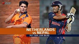 Live Cricket Score Netherlands vs Nepal 2015, 1st T20I at Amstelveen: Netherlands win by 18 runs