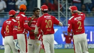 Sandeep Sharma swinging the IPL 7 for KXIP