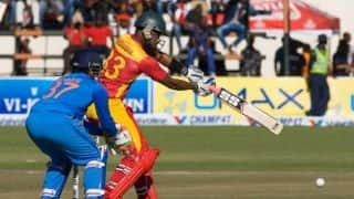 Chamu Chibhabha, Hamilton Masakadza dismissed in quick succession against India in 1st T20I at Harare