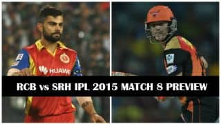 Royal Challengers Bangalore vs Sunrisers Hyderabad IPL 2015 Preview: RCB look to continue winning momentum at home