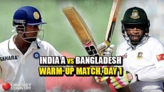 Live Cricket Score, India A vs Bangladesh, Warm-up match Day 1: IND A in command at stumps