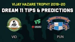 Dream11 Team Vidarbha vs Punjab, Round 3, Elite Group B Vijay Hazare Trophy 2019 VHT ODD – Cricket Prediction Tips For Today's Match VID vs PUN at Vadodara