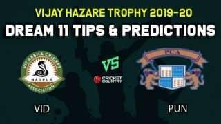 Dream11 Team Vidarbha vs Punjab, Round 3, Elite Group B Vijay Hazare Trophy 2019 VHT ODD – Cricket Prediction Tips For Today's Match VID vs PUN at Vadodara