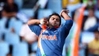 Virat Kohli takes wicket with the first (0th?) ball of his T20I career