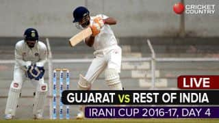 Live Cricket Score, Irani Cup 2016-17, GUJ vs ROI, Day 4: Herwadkar dismissed