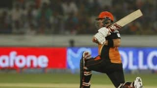 Aaron Finch falls early in Sunrisers Hyderabad's match against Kolkata Knight Riders in IPL 2014