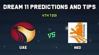 Dream11 Team UAE vs Netherlands 4th T20I– Cricket Prediction Tips For Today's T20 Match UAE vs NED at The Hague