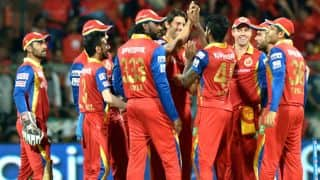 Glenn Maxwell dismissed for 1 as Royal Challengers Bangalore take three early wickets against Kings XI Punjab in Match 40 of IPL 2015
