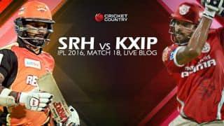 SRH 146/3, 17.5 Overs | LIVE Cricket Score Sunrisers Hyderabad (SRH) vs Kings XI Punjab (KXIP), IPL 2016, Match 18 at Hyderabad: SRH win by 5 wickets