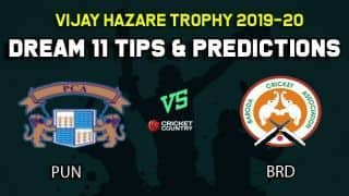 Dream11 Team Punjab vs Baroda, Round 5, Elite Group B Vijay Hazare Trophy 2019 VHT ODD – Cricket Prediction Tips For Today's Match PUN vs BRD at Vadodara