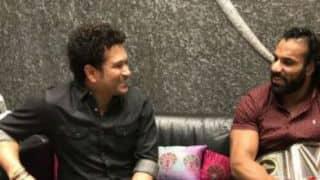 Sachin Tendulkar, Arjun meet WWE Champion Jinder Mahal at their Mumbai residence