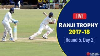 Live Cricket Score, Ranji Trophy 2017-18, Round 5, Day 2