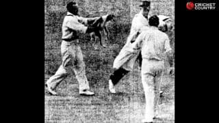 Sid Barnes chases umpire Alec Skelding with a dog