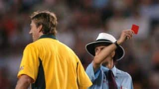 VIDEO: Glenn McGrath receives a red card in a cricket match!