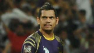 IPL 2015: Sunil Narine participates in Kolkata Knight Riders (KKR) practice session at Eden Gardens
