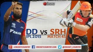 Live Cricket Score Delhi Daredevils vs Sunrisers Hyderabad, IPL 2015 DD 157/4 in 20 overs: SRH win by 6 runs