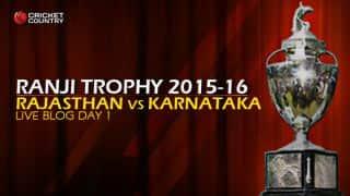 KAR 270/8 I Live Cricket Score Rajasthan vs Karnataka, Ranji Trophy 2015-16 Group A match, Day 1 at Jaipur; Stumps