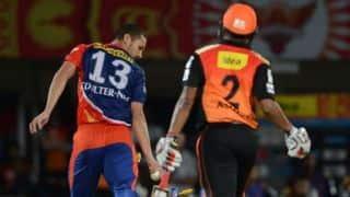 Karn Sharma dismissed for 16 by Nathan Coulter-Nile against Delhi Daredevils in IPL 2015