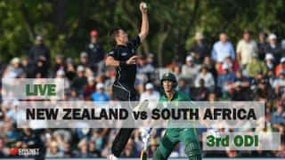 Live Cricket Score, New Zealand vs South Africa, 3rd ODI at Wellington