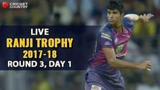 Live Cricket Score, Ranji Trophy 2017-18, Round 3, Day 1