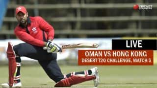 Live Cricket Score, Hong Kong vs Oman, Desert T20 2017: Oman win with 9 overs remaining