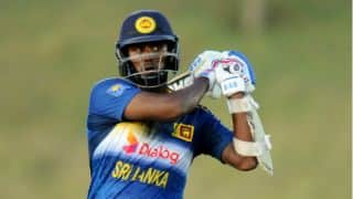 Angelo Mathews dismissed for 23 by Imad Wasim against Pakistan in Colombo