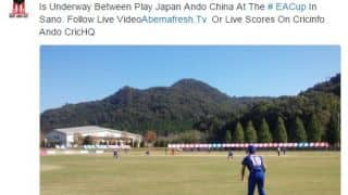 Batsman leaves to change bat and given out in Japan-China match