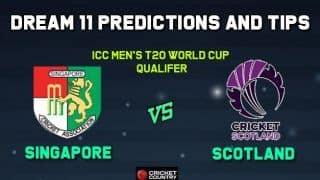 SIN vs SCO Dream11 Team Singapore vs Scotland, Match 6, ICC Men's T20 Qualifiers  – Cricket Prediction Tips For Today's Match SIN vs SCO at Dubai