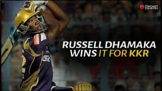 Andre Russell's blitz helps Kolkata Knight Riders beat Kings XI Punjab by 4 wickets in Match 14 of IPL 2015