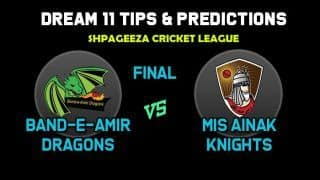 BD vs MAK Dream11 Team Final, Shapageeza Cricket League 2019 – Cricket Prediction Tips For Today's T20 Match Band-e-Amir Dragons vs Mis Ainak Knights at Kabul 12:30 PM IST