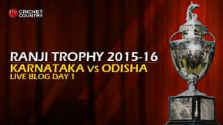 KAR 16/0   Live cricket score, Karnataka vs Odisha, Ranji Trophy 2015-16, Group A match, Day 1 at Mysore; Stumps