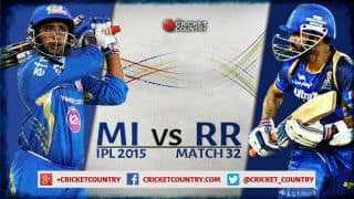 Live Cricket Score MI vs RR, IPL 2015, Match 32 at Mumbai, MI 179/7 in 20 overs: Mumbai pull off 8 runs win