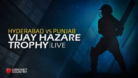 HYD 182/9 in 42 overs, Live Cricket Score, Vijay Hazare Trophy 2015-16, Hyderabad vs Punjab, Group A match at Hyderabad: Punjab win by 56 runs