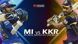 MI 178/4 in 18 overs | Live Cricket Score Mumbai Indians (MI) vs Kolkata Knight Riders (KKR), IPL 2016, Match 24 at Mumbai: Kieron Pollard rockets MI to 6 wicket win over KKR