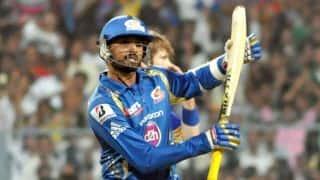 Harbhajan Singh, Jagadeesha Suchith complete 100-run stand for Mumbai Indians vs Kings XI Punjab in IPL 2015