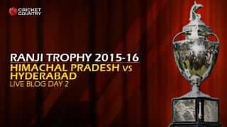 HP 84/0 | Live Cricket Score Himachal Pradesh vs Hyderabad, Ranji Trophy 2015-16 Group C match, Day 2 at Dharamsala: Stumps