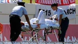 Windies cricketer Keemo Paul was stretchered from field after he suffered a right quadricep strain