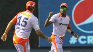 Shane Watson dismissed by Angelo Mathews in RR-DD IPL 2015 match