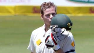 Steven Smith congratulated by Rod Marsh on being appointed Australia captain
