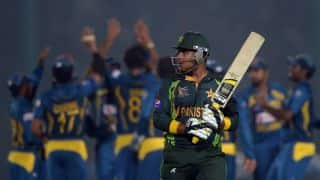 Sri Lanka vs Pakistan 2014, 3rd ODI at Dambulla: Sharjeel Khan dismissed by Dhammika Prasad
