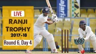 LIVE Cricket Scores, Ranji Trophy 2017-18, Round 6, Day 4