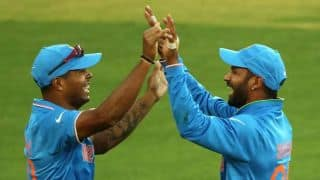 Jerome Taylor dismissed for 11 by Umesh Yadav against India in ICC Cricket World Cup 2015
