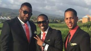 Kieron Pollard, Dwayne Bravo, Lendl Simmons pose at wedding