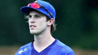 Warren Barnes sports headgear while bowling in New Zealand's domestic T20 competition