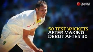 Ryan Harris and others with 50 Test wickets after making debut after 30