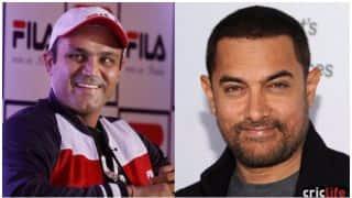 हैदराबाद में बीच मैदान पर हुआ आमिर खान और सहवाग का 'मुकाबला'