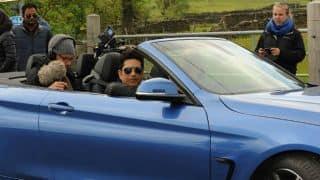 Sachin Tendulkar drives around the countryside in a convertible
